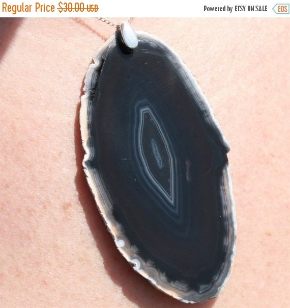 Agate Pendant with Sterling Silver Chain and Bail as seen in Lucky magazine by zulasurfing