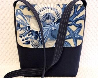 Crossbody Messenger Bag - Sea Shells Purse - Navy Blue Handbag - Handmade Messenger - Messenger Purse - Navy Cross Body Bag - Gift for Her