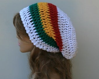 Slouchy beanie hat, White Jamaica colors cotton and hemp blend slouchy beanie smaller dreadlock hippie tam hat