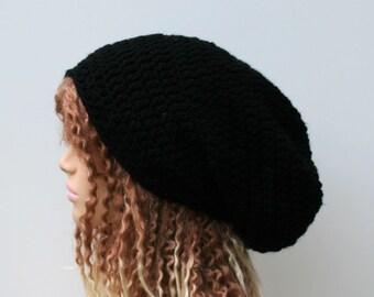 Black Slouchy Beanie, dread Tam hat,  Dreadlock hat, Hippie Beanie Hat, slouch beanie, woman hat, man beanie, Dread tam hat, black beanie