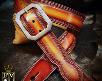 Red Leather guitar strap Cherry sunburst fade Hand tooled, Hand dyed Custom made for YOU in Brooklyn NY by Freddie Matara