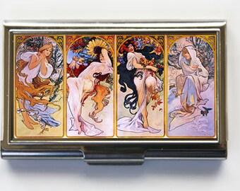 Art Nouveau Business Card Holder Card Case mucha four seasons