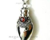 Red Garnet Treasure Long Bottle Tube Bali Pendant Necklace 925 Sterling Silver P23