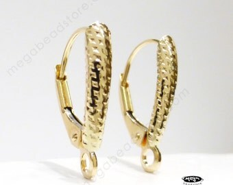 14K Yellow Gold Pattern Shield Leverback Earwires Solid Real Gold 14KG09- 1 Pair