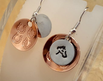 Cowgirl Up horse and horseshoe hand stamped mixed metal textured layered french hook earrings