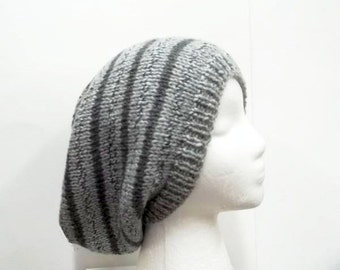 Slouchy hat, shades of gray, large size 5228