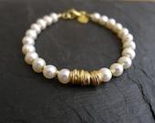 Freshwater Pearl Bracelet in 22 Karat Gold Plated Sterling Silver Vermeil