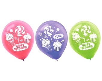 Sweet Shop Printed Latex Happy Birthday Balloons-NEW-12in.-Set of 6
