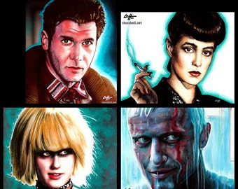 "Prints 8x10"" - The Blade Runner Series - Rick Deckard Harrison Ford Science Fiction Pop Art Philip K Dick Sci Fi Android Los Angeles Robot"