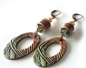 Rustic Copper Earrings, Extra Long Drops, Crystals, Copper, Green, Polymer Clay Oval Discs, Textured, Earthy, Bohemian, Beaded Earrings
