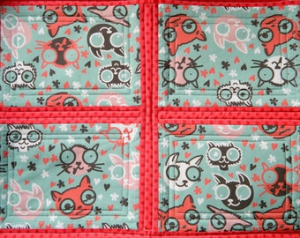 Kitty Cats Cat Quilt Blanket For Mew, Cat Lady Cat Lover Gift, Cat Bedding