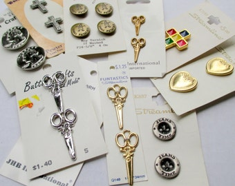 CLEARANCE - Buttons - Vintage Buttons - Metal Buttons - Carded Buttons - Sewing Notions - Button Assortment