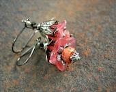 Fairy Princess Earrings, Pink & Silver, Girlie Flower Earrings, Victorian Faery, Gift Under 30, Dainty Lightweight Boho, Elksong Jewelry