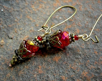 Sparkly Red Earrings, Deep Red Fireflies, Faery Couture, Lightweight & Casual, Everyday Favorites, Boho Chic, Elksong Jewelry