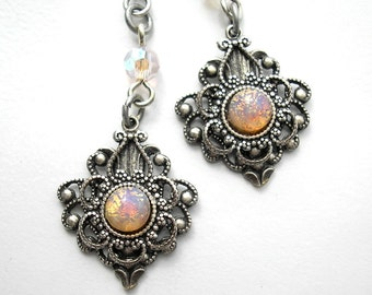 Victorian Style Pink Glass Opal Antiqued Silver Dangle Earrings