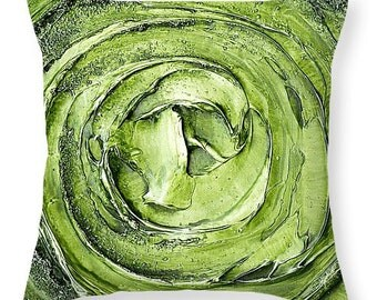 Designer Art Accent Throw Pillow - abstract apple green vortex, interior design, modern home decor from Susanna's art