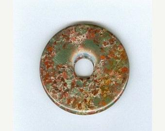 SALE 40mm Mahogany Jasper PI Donut Pendant  1121T