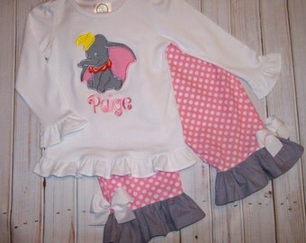 Dumbo Applique Short or Long Sleeve T-shirt and  Pink Polka Dot Ruffle Capris or Pants or Shorts Set  -  Birthday party outfit