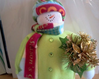 Lacey in Lime Green Handmade Fabric Snowman