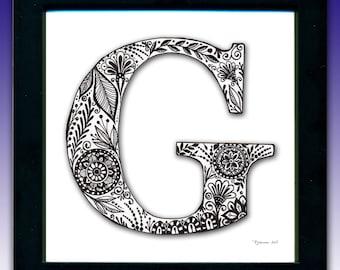 Framed 'G' Monogram Print