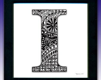 Framed 'I' Monogram Print