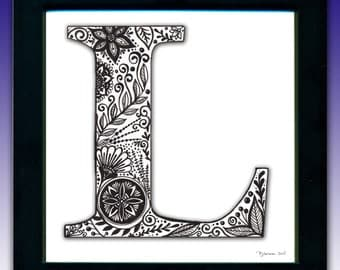 Framed 'L' Monogram Print