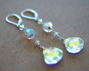 Dramatic Swarovski Earrings of AB Crystal, Sterling Silver, Long, Sterling Silver, Bridal