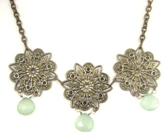 Chalcedony Filigree ... Victorian Chalcedony Gemstone Filigree Necklace One of a Kind
