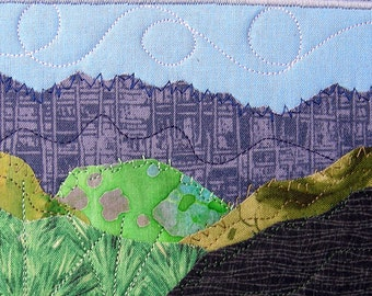 Fabric Postcard  Handmade Quilted Greeting Card  Landscape  Fiber Art Mountains Blue Sky