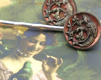 Parrot BUTTON hair pins, Victorian birds in red on silver bobby pins, hair grips, present gift. Vintage button jewellery.