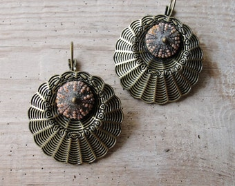 Brass Sea Urchin Earrings Special Texture, Earthy Colors