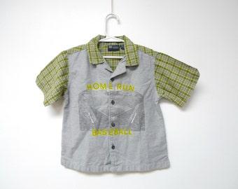 HOME RUN . boy's button down . plaid shirt . blue or green . size 4T