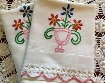 Vintage Embroidery Pillow Cases - Flower Urn Pillowcases, Pair Cotton - Crochet Edge - Handmade - Queen - Full