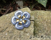 Flower Hair Pin Beaded Blue Lace with Brass and Swarovski Crystals
