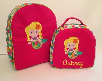 Custom Made Backpack for Toddler/Preschooler- shown with Mermaid Applique