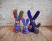 RESERVED for Michele - Rabbit,  Bunny, Valentines Day, Heart, Needle Felted,Handmade, Wool