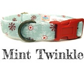"Mint Green White Red Snowflake Snow Winter Dog Collar - Organic Cotton - Antique Brass Hardware - ""Mint Twinkle"""
