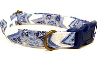 Hanukkah - White Blue Jewish Star Chanukkah Holiday Organic Cotton CAT Collar Breakaway Safety - All Antique Brass Hardware