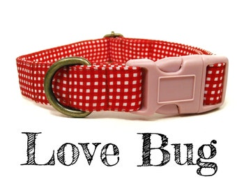 "Red White Gingham Plaid Love Girl Valentine Dog Collar - Organic Cotton - Antique Brass Hardware - ""Love Bug"""