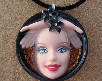Rainforest  2 - Upcycled Barbie Doll Pendant