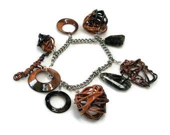 Enameled Charm Bracelet, Brown and Black, Neutral Colors, Enamel Bracelet, Artisan, Designer Bracelet