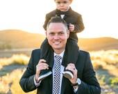 Black Gingham Men's Necktie Cotton Necktie Skinny Tie