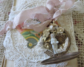 Antique Miniature Frozen Charlotte Doll Diorama Repurposed in Victorian Pocket Watch, with Millinery Flowers