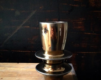 Ships Now-  small golden lustre vase by sara paloma