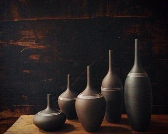 Made To Order- set of 5 ceramic stoneware pottery bottle vases by sara paloma .  Black abd white modern pottery