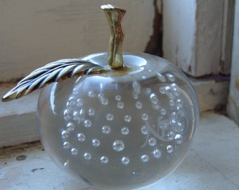 Vintage Glass Apple New York Paper Weight