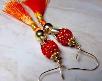 Tangerine Orange Pave Crystal Gold Tassel Earrings