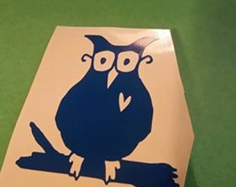 owl on a branch vinyl decal with heart cutout wise owl owl cartoon sticker