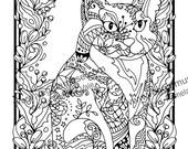 Festive Feline, Zentangle Instant Digital Download Coloring Book Page