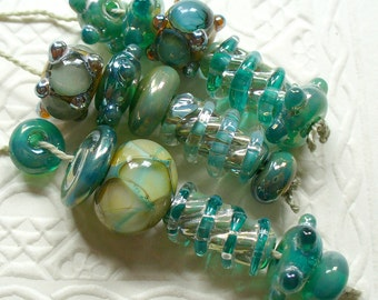 Handmade Lampwork Glass Beads by Catalinaglass SRA Silver Teal Designer's Set of 16